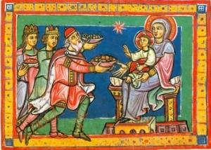 Die Sterndeuter sind wie die Könige - und eine Königin ist dabei -, die sich vor dem göttlichen Erlöser niederknien.